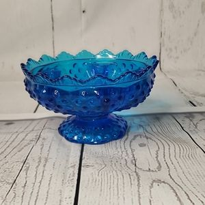 "Fenton Art Glass Colonial Blue Hobnail 6.5"" Candle"